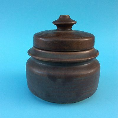 ARABIA FINLAND POTTERY SUGAR BOWL Lidded Brown 9-66 Retro VGC