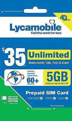 Lycamobile $35 Plan Prepaid 1st Month Free SIM With 6GB Of 4G Lte Data Talk Text