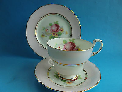 Paragon Trio Cup Saucer & Plate Pink With Rose Bouquet Like New