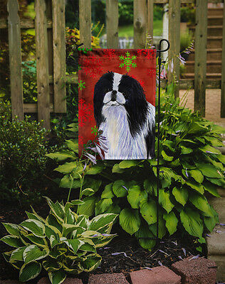 Japanese Chin Red and Green Snowflakes Holiday Christmas Flag Garden Size