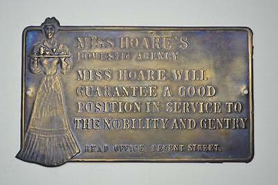 Miss Hoare's Domestic Agency Brass Colour Metal Plaque