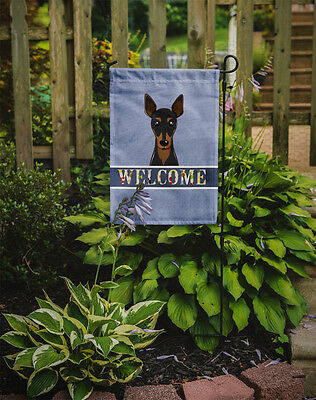 Carolines Treasures  BB1426GF Min Pin Welcome Flag Garden Size