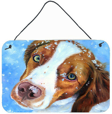 Snow Baby Brittany Spaniel Wall or Door Hanging Prints