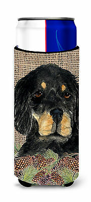 Gordon Setter on Faux Burlap with Pine Cones Ultra Beverage Insulators for slim