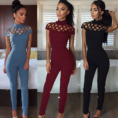 UK Womens Choker High Neck Caged Sleeve Playsuit Ladies Jumpsuit Size 6 - 16