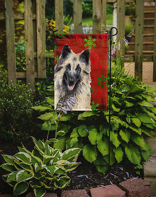 Belgian Tervuren Red and Green Snowflakes Holiday Christmas Flag Garden Size