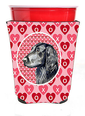 Flat Coated Retriever Valentine's Love and Hearts Red Solo Cup Beverage Insulato