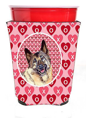 Norwegian Elkhound Valentine's Love and Hearts Red Solo Cup Beverage Insulator H