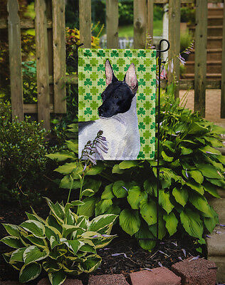 Rat Terrier St. Patrick's Day Shamrock Portrait Flag Garden Size