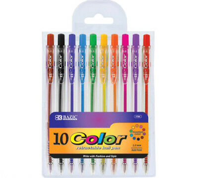 10 pcs/pack BAZIC 10 Retractable Color Pen Assorted color #1720