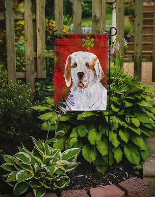 Clumber Spaniel Red and Green Snowflakes Holiday Christmas Flag Garden Size