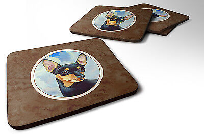 Carolines Treasures  7073FC Set of 4 Min Pin Black and Tan Foam Coasters