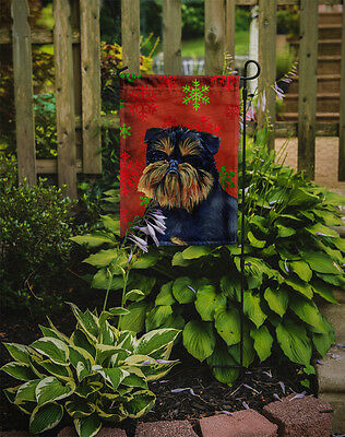 Brussels Griffon Red and Green Snowflakes Holiday Christmas Flag Garden Size