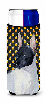Rat Terrier Candy Corn Halloween Portrait Ultra Beverage Insulators for slim can