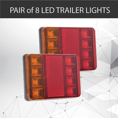 Pair of 8 LED TRAILER LIGHTS TAIL LIGHTS TRAILER TRUCK CARAVAN 90X115MM