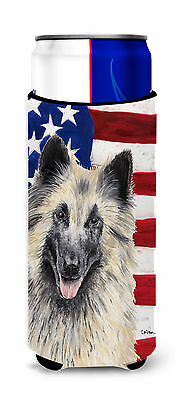 USA American Flag with Belgian Tervuren Ultra Beverage Insulators for slim cans