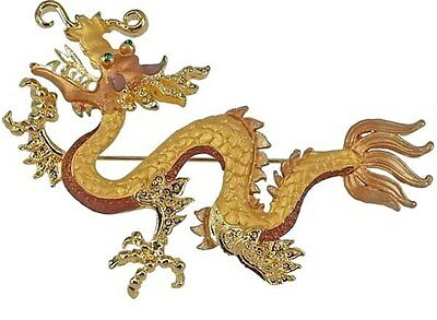 Gold Dragon Pin Swarovski Crystals By Rucinni Jeweled Large Brooch NIP New