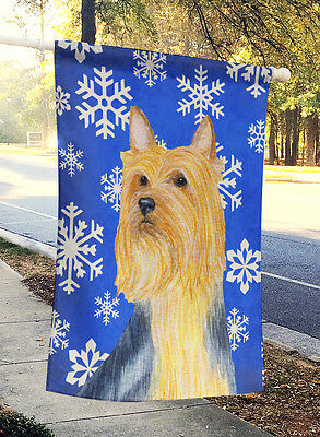 Silky Terrier Winter Snowflakes Holiday Flag Canvas House Size