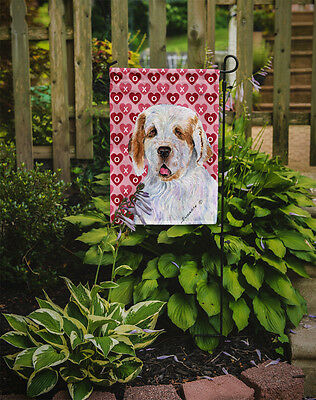 Clumber Spaniel Hearts Love and Valentine's Day Portrait Flag Garden Size
