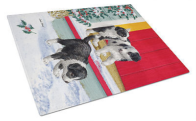 Christmas Border Collie Pups Glass Cutting Board Large