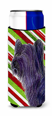 Skye Terrier Candy Cane Holiday Christmas Ultra Beverage Insulators for slim can