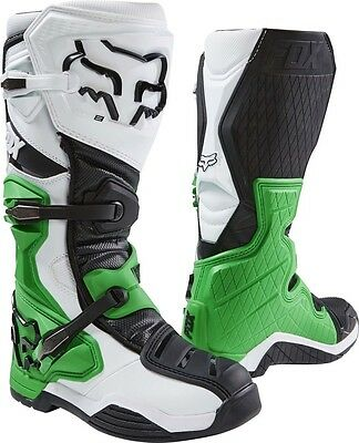 New 2017 Fox Racing Comp 8 Mx Offroad Boots-  Whi/blk/grn