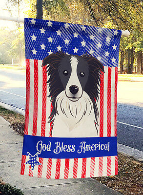 God Bless American Flag with Border Collie Flag Canvas House Size