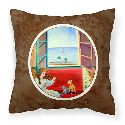 Italian Greyhounds and Violinist Fabric Decorative Pillow
