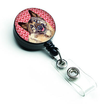 Norwegian Elkhound Love Hearts Retractable Badge Reel or ID Holder with Clip