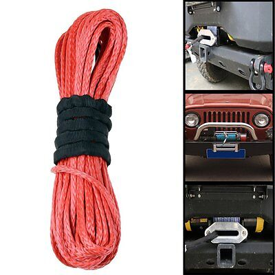 SUV Truck Pickup Offroad VAT 50' RED Dyneema Synthetic Winch Rope Cable 6400LBs