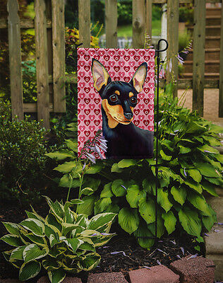 Min Pin Hearts Love and Valentine's Day Portrait Flag Garden Size
