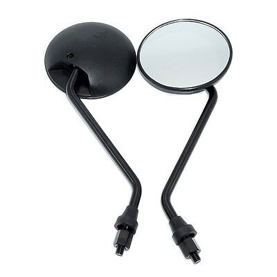 "1 Pair Universal 4"" Round Motorcycle Mirrors Short Stem 8m M8 Bolt Black"