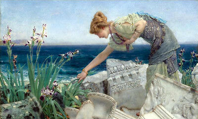 Oil painting Sir Lawrence Alma-Tadema - Among the Ruins young girl Hand painted