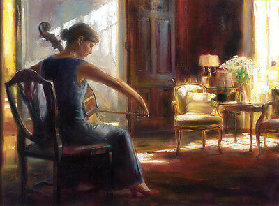 Oil painting Andrew White young woman playing cello in room hand painted canvas