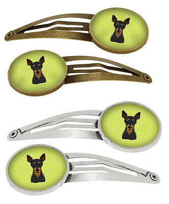 Checkerboard Lime Green Min Pin Set of 4 Barrettes Hair Clips