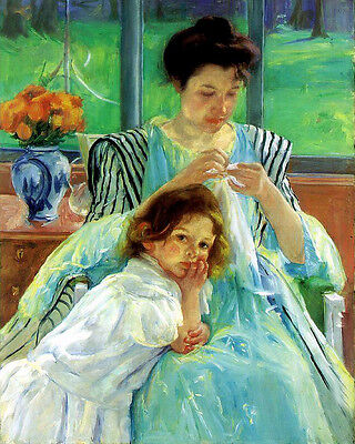 Hand painted Oil painting Cassatt, Mary American  Mother daughter little girl