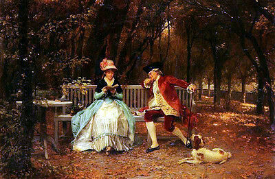 Art Oil painting Louis Emile Adan Romantic young lovers reading Hand painted