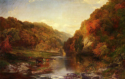 Hand painted Oil painting Thomas Moran - Autumn landscape cows by the river