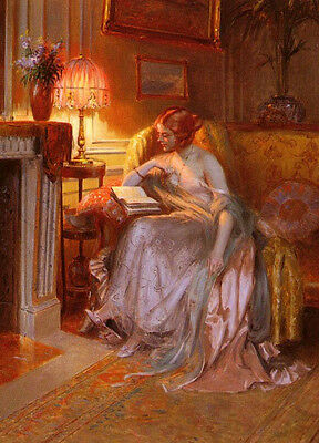 Art Oil painting nice young lady woman reading book in evening bedroom on canvas