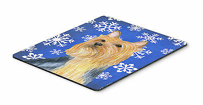 Silky Terrier Winter Snowflakes Holiday Mouse Pad, Hot Pad or Trivet