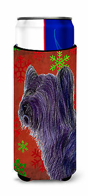 Skye Terrier Red Green Snowflake Holiday Christmas Ultra Beverage Insulators for