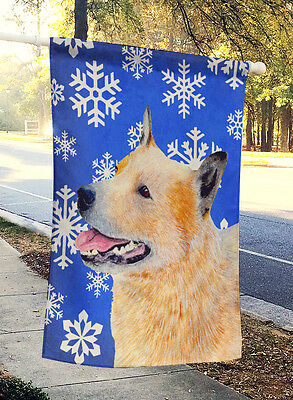 Australian Cattle Dog Winter Snowflakes Holiday Flag Canvas House Size