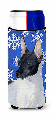 Rat Terrier Winter Snowflakes Holiday Ultra Beverage Insulators for slim cans