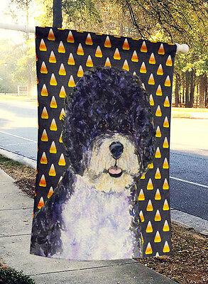 Portuguese Water Dog Candy Corn Halloween Portrait Flag Canvas House Size