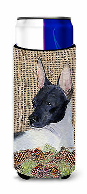 Rat Terrier on Faux Burlap with Pine Cones Ultra Beverage Insulators for slim ca