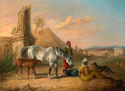 Hand painted oil painting family horseman horse foal in dusk with castle Ruins