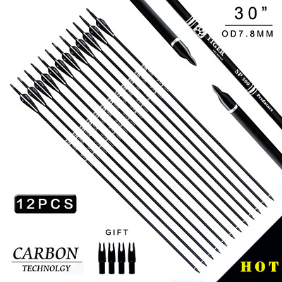 12pcs Spine500 Carbon Arrows Black Feather Long Bow Archery Practise New