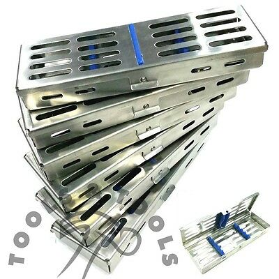 6 Pcs Set Sterilization Cassette Rack Tray Hold 5 Dental Instruments Autoclave