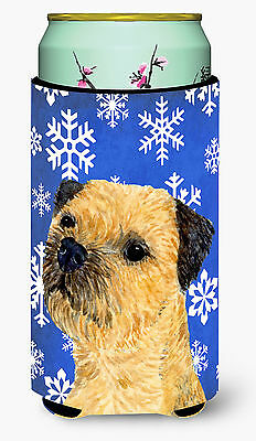 Border Terrier Winter Snowflakes Holiday  Tall Boy Beverage Insulator Beverage I