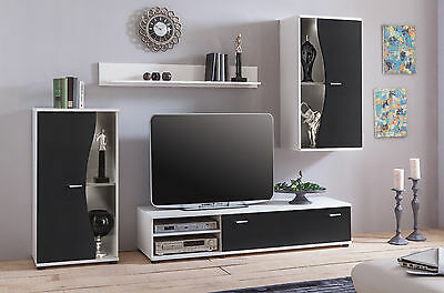 Media TV Stand LED Entertainment Center Wall Unit Modern Living Room Furniture